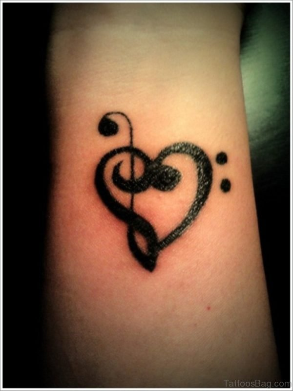 Black Music Heart Tattoo