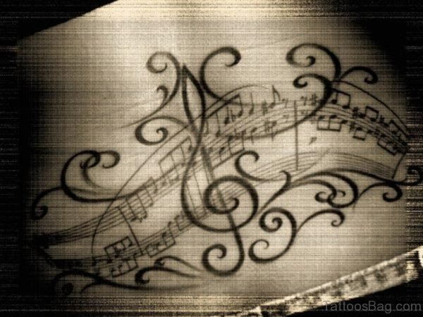 Black Music Notes Tattoo