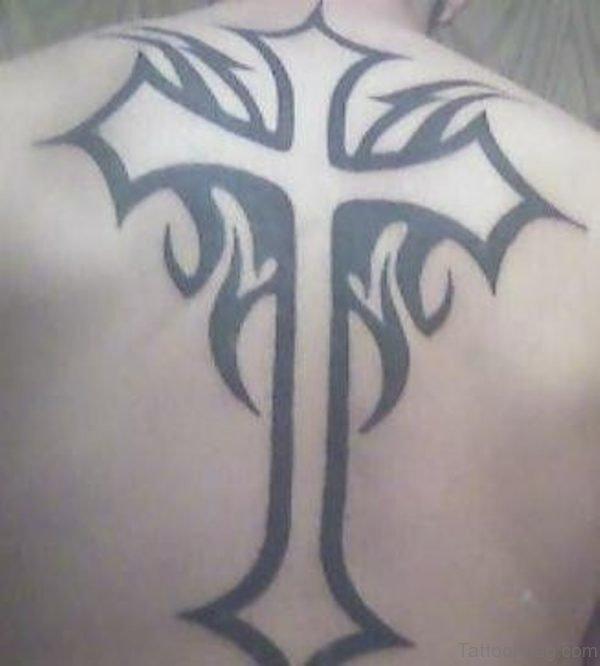 Black Outline Cross Tattoo