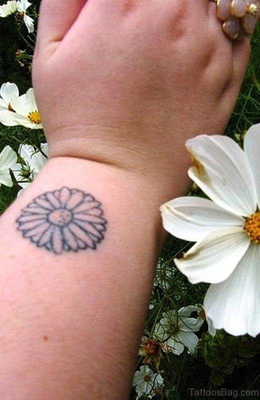 Black Outline Daisy Flower Tattoo