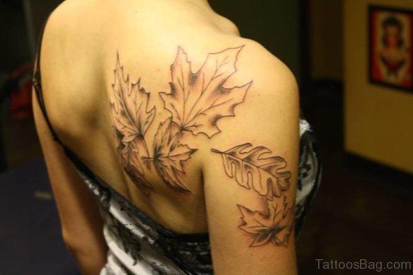 Black Outline Leaf Tattoo