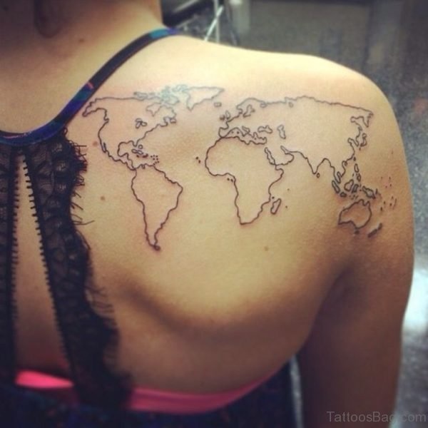 Black Outline World Map Tattoo