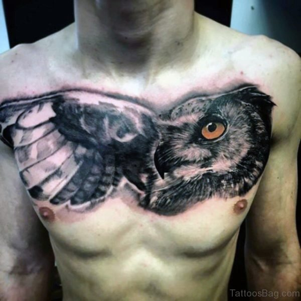 Black Owl Face Tattoo