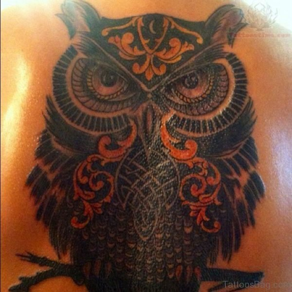 Black Owl Tattoo Design
