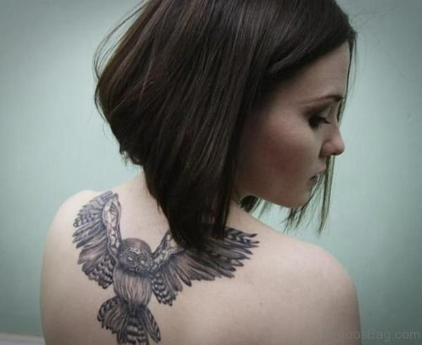 Black Owl Tattoo  On Back