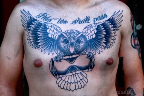 Black Owl Tattoo On Chest