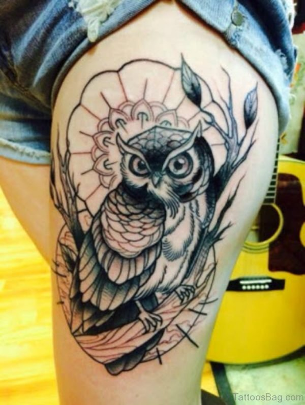 Black Owl Tattoo On Thigh