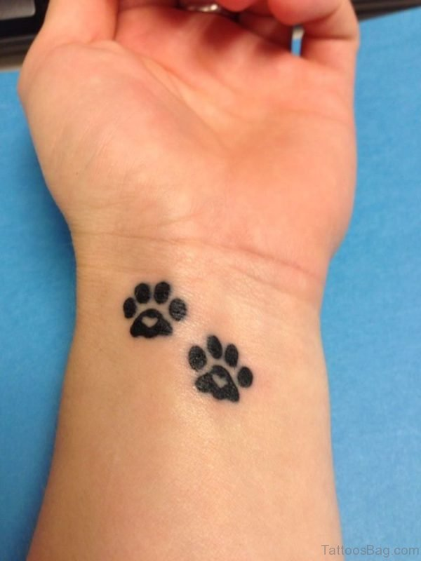 Black Paw Tattoo Design On Wrist