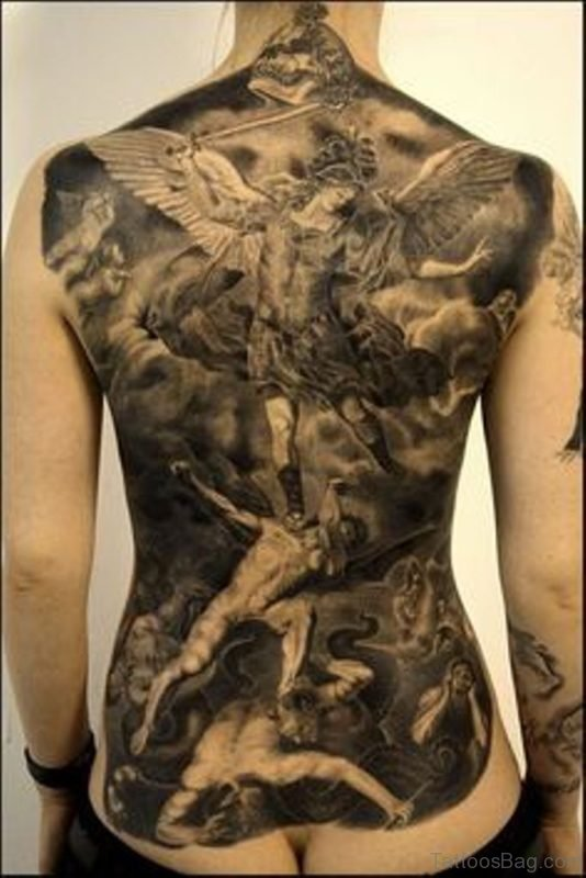 Black Religious Tattoo On Back