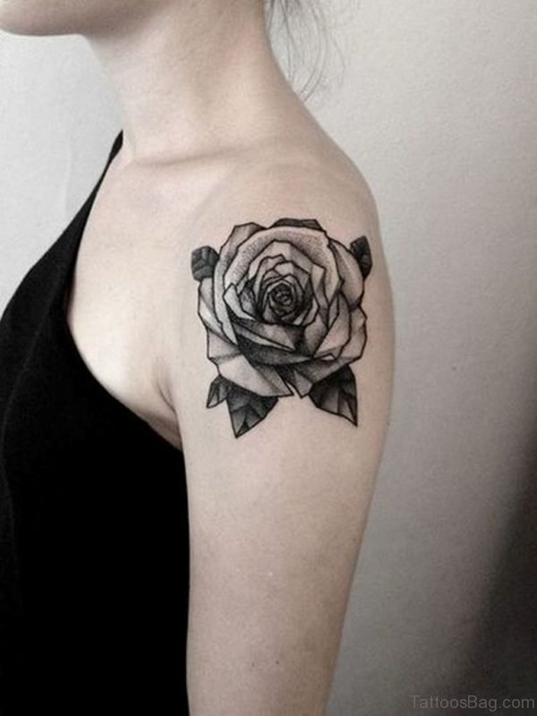 Black Rose Shoulder Tattoo Design