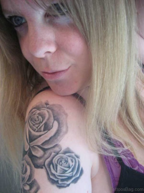 Black Rose Shoulder Tattoo