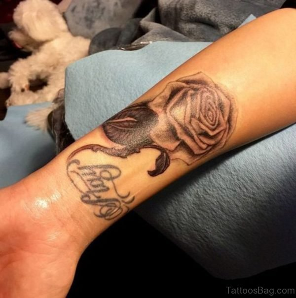 Black Rose Tattoo Design On Wrist