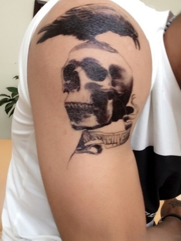 Black Skull Shoulder Tattoo For Men