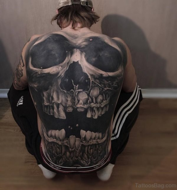 Black Skull Tattoo On Full Back