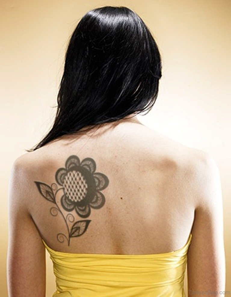 85 pretty sunflower tattoos designs for back for Tattoos on back