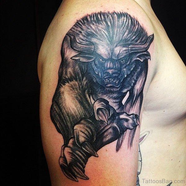 Black Taurus Shoulder Tattoo