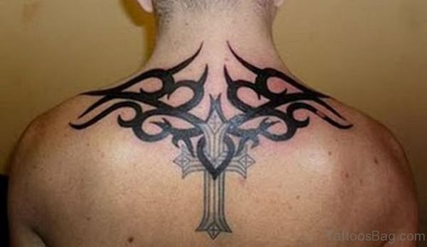 Black Tribal And Cross Tattoo