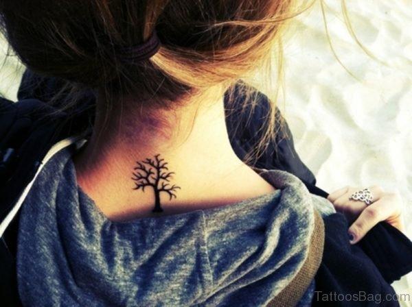 Black Tree Neck Tattoo