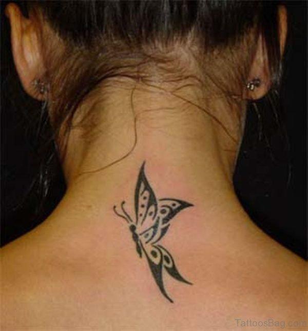 Black Tribal Butterfly Neck Tattoo