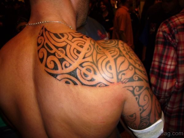 Black Tribal Tattoo On Back