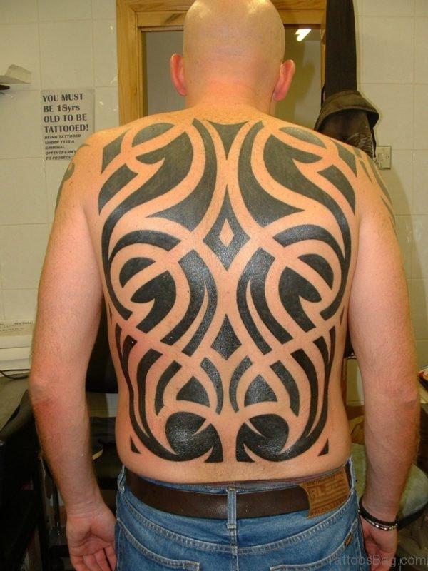 Black Tribal Tattoo On Full Back