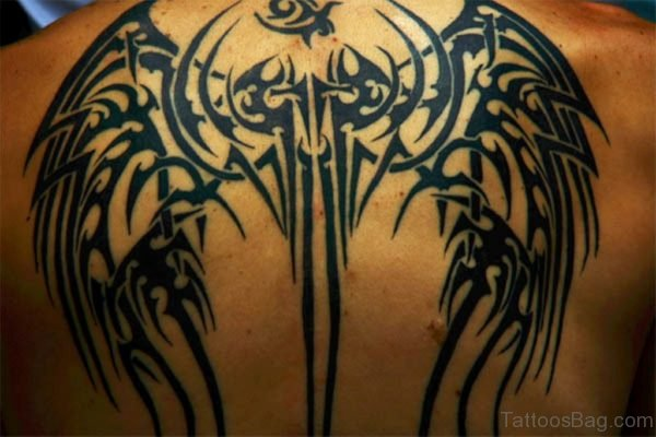 Black Tribal Wings Tattoo