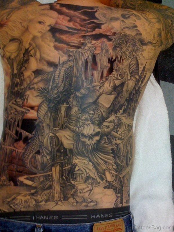 Black Viking Tattoo On Full Back