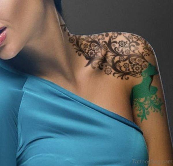 Black Vine Shoulder Tattoo