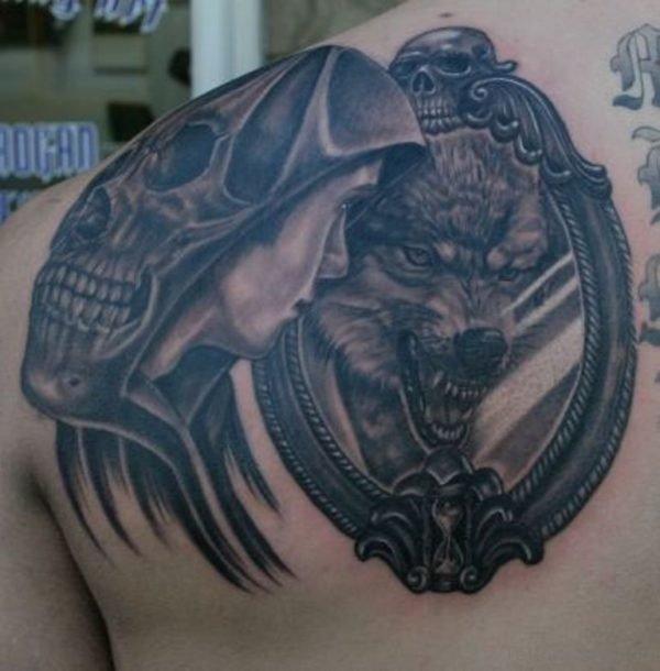 Black Wolf Tattoo On Back