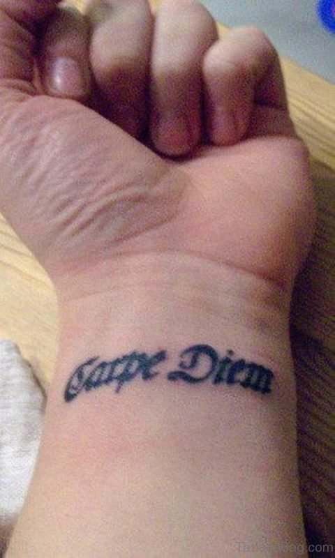 Black Word Tattoo On Wrist