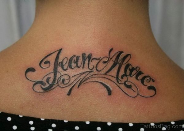 Black Wording Tattoo On Back