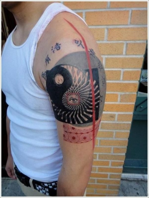 Black Yin Yang Tattoo Design