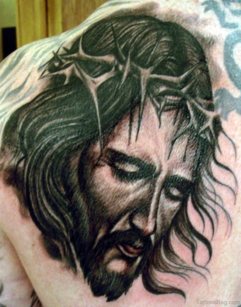 82 delightful jesus tattoos for back. Black Bedroom Furniture Sets. Home Design Ideas