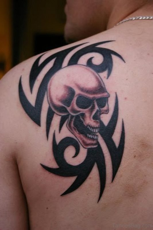 Black Tribal Skull Tattoo