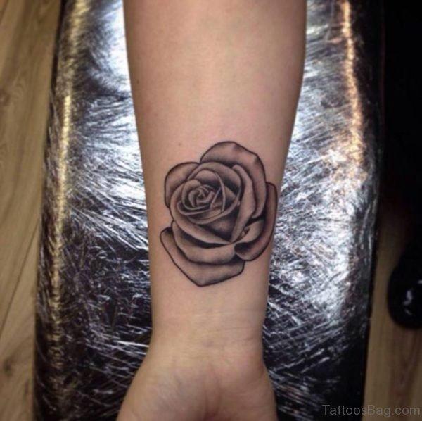 Black work Rose Tattoo