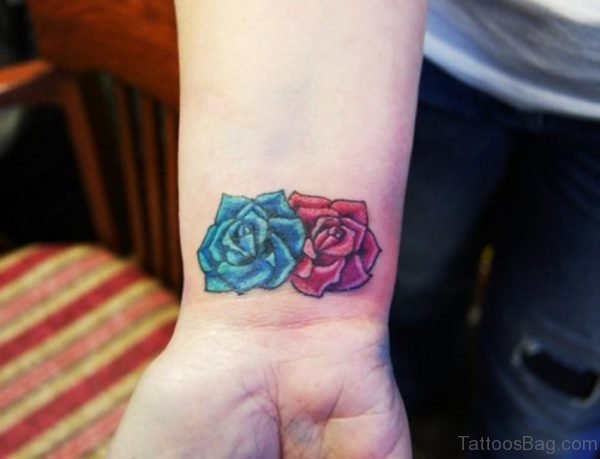 Blue And Red Flower Tattoo