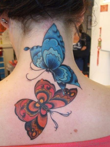 Blue And Red Tattoo On Neck