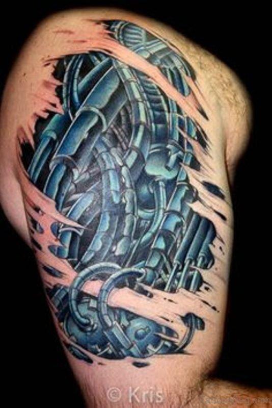 Blue Bio Mechanical Tattoo
