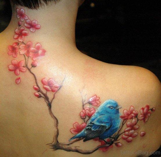Blue Bird And Cherry Blossom Tattoo
