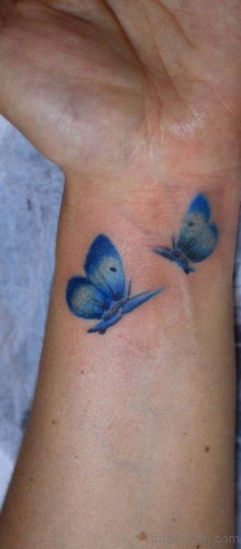 Blue Butterflies Tattoo On wrist