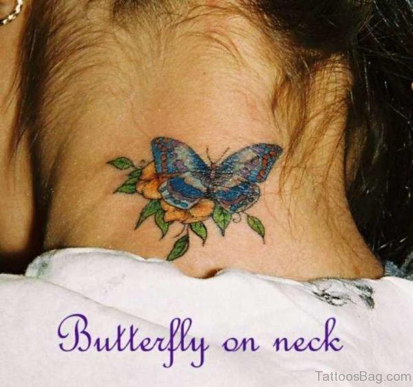 Blue Butterfly Flower Tattoo On Neck