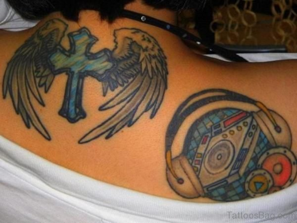 Blue Cross And Wings Tattoo