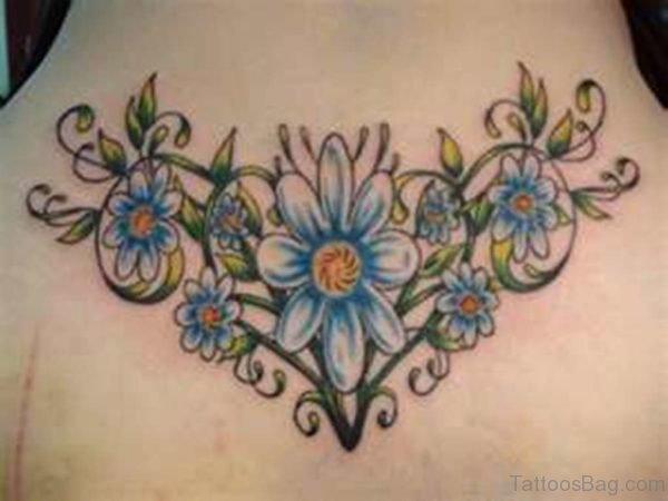 Blue Daisy  Tattoo On Back