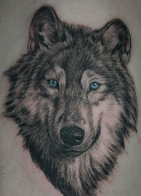 Blue Eyes Wolf Tattoo