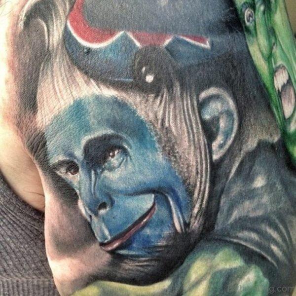 Blue Face Monkey Shoulder Tattoo
