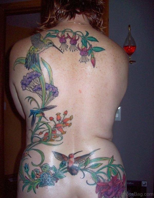 Blue Flower Hummingbird Tattoo