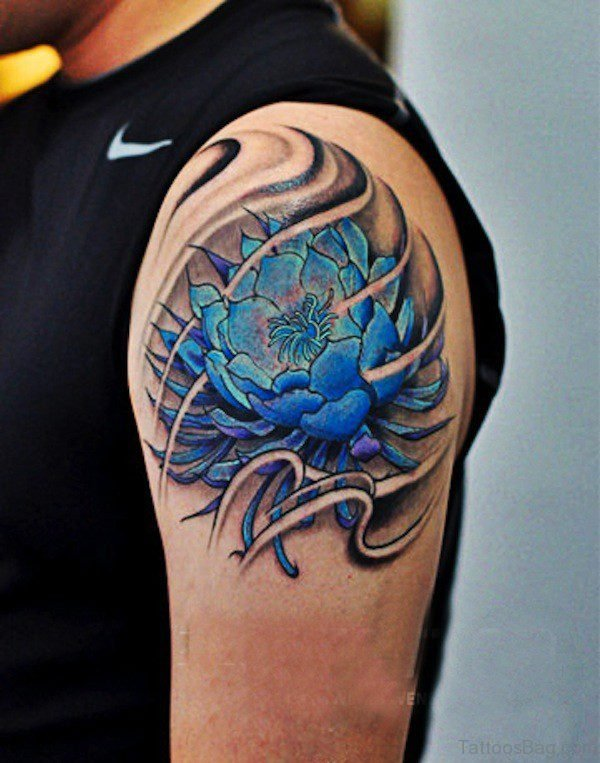 Blue Flower Shoulder Tattoo For Men