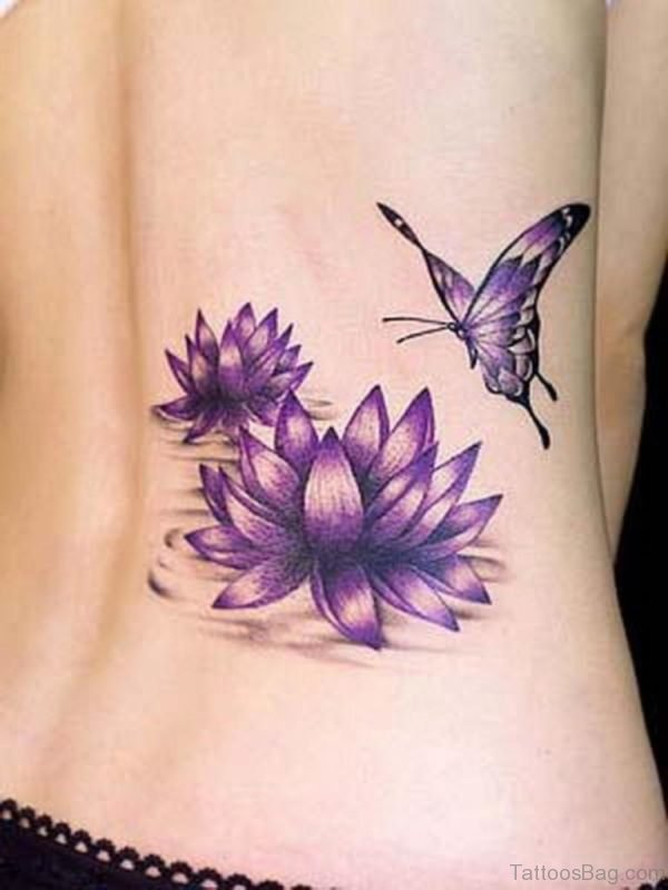Blue Flower Tattoo On Lower Back