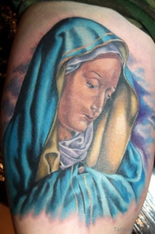 Blue Ink Mary Tattoo