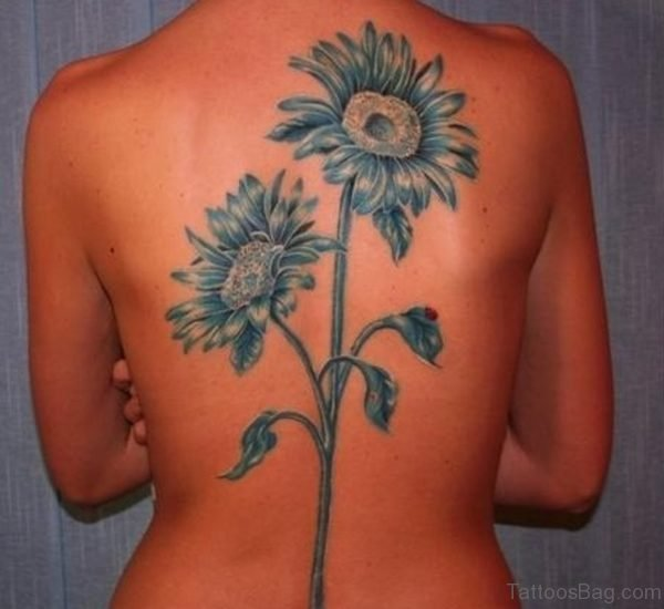 Blue Ink Sunflower Tattoos On Back